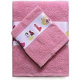 Disney SPGN3001017 Asciugamano e Ospite con Bordo Stampato, 100% Cotone, Rosa, 29x24x2.5 cm