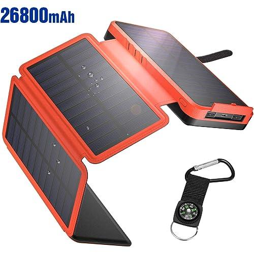 IEsafy Powerbank Solare 26800mAh, Caricabatterie Solare Portatile con 4 Pannelli Solari Pieghevoli 2 Porte Ricarica Rapida Caricatore Solare Impermeabile per Cellulare/iPhone/iPad/Tablet