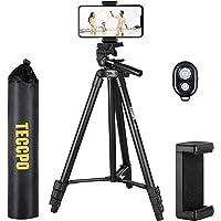 TECCPO Kompakt Leichtes Stativ(135cm/53 Zoll) mit Bluetooth und Universalclip, Stativständer für Kamera/Telefon/Video…