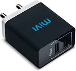 Mivi 3.1A Dual Port Smart Wall Charge Adapter With In-Built Auto-Detect Technology For All Smartphones-Black