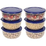 Cutting Edge Eco-Storage Plastic Container Set for Kitchen & Refrigerator, Set of 6 - (Dark Blue, 400 ML)