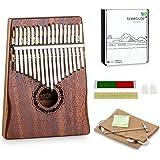 Instrument de kalimba, piano à pouce : 17 anches en do majeur avec marteau d'accord et livre d'instruction | avec notes gravé