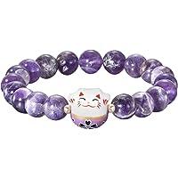 Bracelet Maneki Neko (招き猫) Porte Bonheur Perles Naturelles (18 cm extensilbe pour Passage Poignet) Agate Améthyste + en…