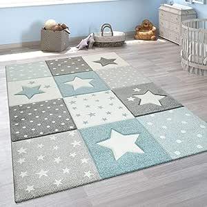 Dimensione:80x150 cm Tappeto per la cameretta dei Bambini con Motivo di Montagna Luna e Stelle nei Colori Pastello Blu-Grigio