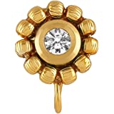 Accessher Gold Plated Flower AD Nose pin Clip On Nose Ring Small Nath Kundan for Women