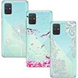 Yoowei [3-Pack] Funda para Samsung Galaxy A71, Transparente con Dibujos Ultra Fino Suave TPU Silicona Protector Carcasa para