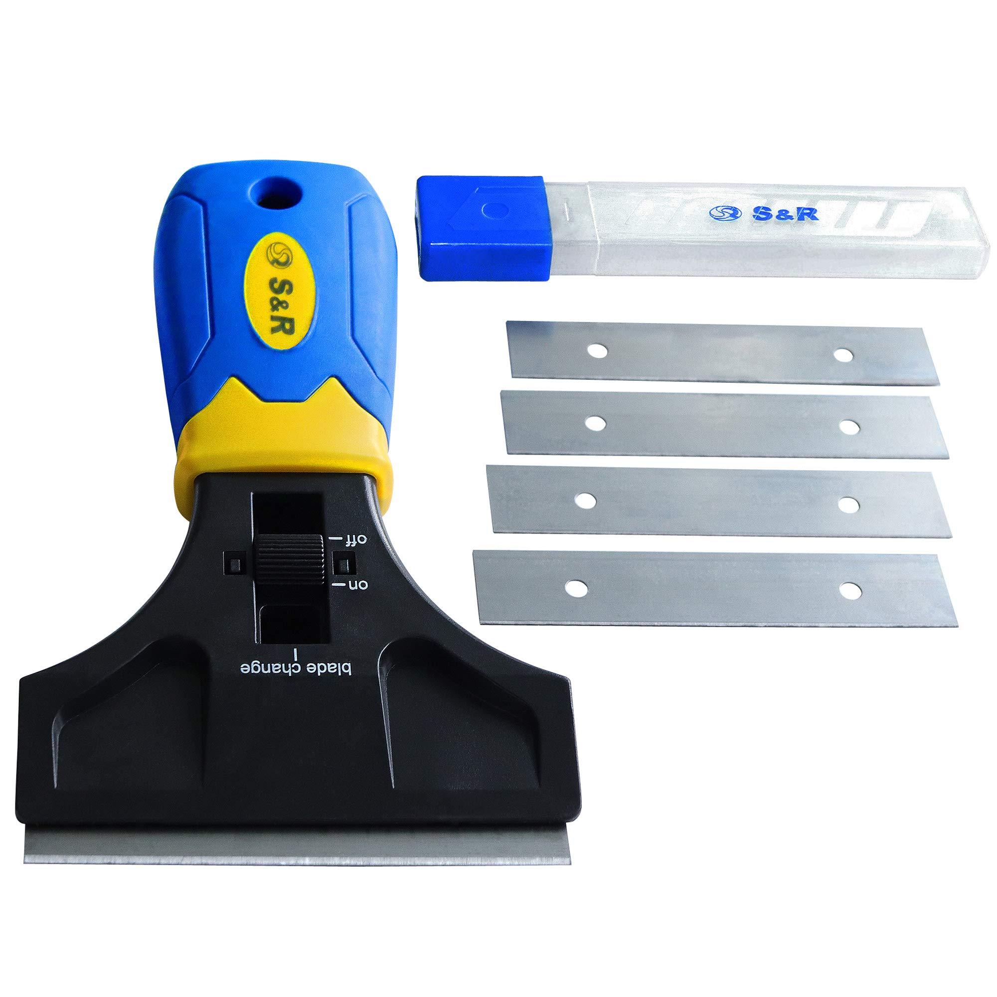 S&R Grattoir Vitre Vitroceramique plaque à induction 147 mm avec 5 lames de rechange