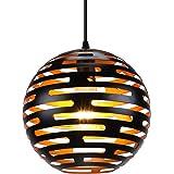 LIGHTESS Suspension Luminaire Industrielle Eclairage de Plafond Rétro E27 Lampe Pendante Vintage Plafonnier en Métal Noir Int
