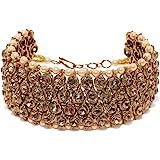 Zaveri Pearls Gold Tone Sparkling Austrian Diamonds & Pearls Studded Traditional Bracelet For Women -ZPFK7396