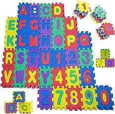 Sosila Puzzlematte, 86 tlg. Kinderspielteppich, Puzzleteppich mit Buchstaben und Zahlen, Spielmatte Spielteppich Schaumstoffmatte Matte Kinderteppich Spielmatte Lernteppich, Puzzlematte für Babys und Kinder, Schaumstoffplatten, Wasserdicht & Umweltfreundlich, Kälteschutz, abwaschbar, schadstofffrei, geruchlos (Buchstaben&Zahlen)
