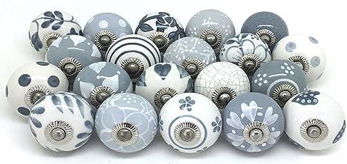 Knauf für Schrank, Schublade, aus Keramik, handbemalt, 20 Stück Grey & White