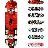 WeSkate Completo Skateboard per Principianti, 80 x 20 cm 7 Strati di Acero Double Kick Deck Concavo Skate Board per Bambini A