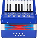 Topnaca Accordéon à 17 Touches Bouton et 8 Basses, Mini Accordéon Piano Instrument de Musique Pédagogique, Accordéon Jouet Éd