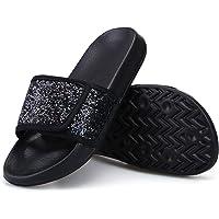 Girls Sequins Sparkle Slider Sandals Women Summer Beach Slides Toddler Girls Slip On Vacation Slipper Ladies Anti-Slip…