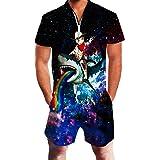 ALISISTER Mens Romper 3D Graphic Print Short Sleeve Zipper One Piece Suits Summer Jumpsuit Outfits M-XXL