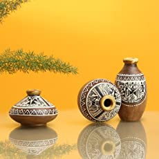 ExclusiveLane Warli Home Decorative Terracotta Flower Pots (19.8 cm x 19.8 cm x 9.9 cm, Natural Mud Brown, Set of 3)