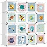 SONGMICS Armoire modulable, Placard de Rangement Portable, Organisateur vêtements Enfant, avec 16 Cubes, 4 Rails Suspendus, 1