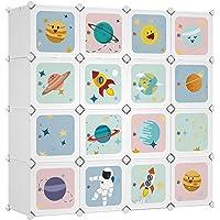 SONGMICS Armoire modulable, Placard de Rangement Portable, Organisateur vêtements Enfant, avec 16 Cubes, 4 Rails…