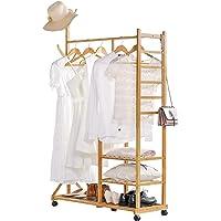 Yorbay 4 en 1 Portant Penderie à Vêtements en Bambou, avec Porte-Manteau sur Le Côté Design Arbre avec des Crochets, 3…
