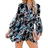 HenzWorld Vestidos Florales para Mujer Vestido Informal de Manga Larga Boho Vestido Delgado con Dobladillo con Volantes y Cue