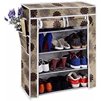 Cmerchants Smart Buy Home Utility Portable Space Saving 4 Layer Shoe Rack Organizer Stand Flower