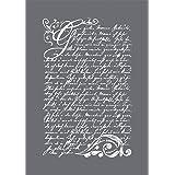 Rayher 45067000 sjabloon motief: vintage poëzie DIN A5, 14,8 x 21 cm, met rakel, zeefdruk-sjabloon, schildersjabloon, zelfkle