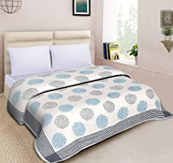 Mom's Home Organic Cotton Double Bed- Soft and Lightweight Comforter/AC Quilt - Sunflower Design - Ecofriendly Handblock prints - Reversible