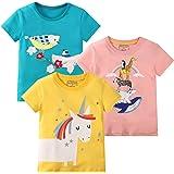 Girl Tee Shirt Summer Short Sleeve Crewneck Cotton Casual Graphic Cartoon Tops T-Shirt 3 Packs Sets