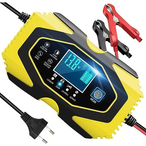 InThoor Caricabatterie Auto 12V/24V 6A, Mantenitore di Carica Auto Moto Camion Litio Acido al Piombo LiFePO4 Batteria, 7 Livelli Intelligente Caricabatteria con Schermo LCD(6-120Ah)