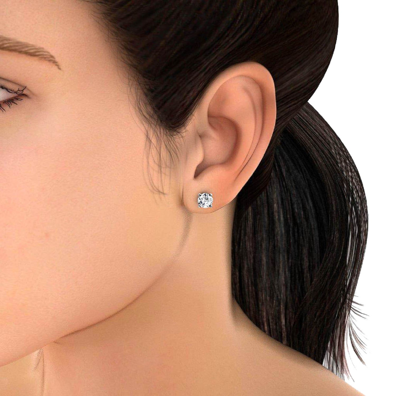 0.15 Carat Round Diamond Stud Earring in 18k White Gold-Screw Back ...