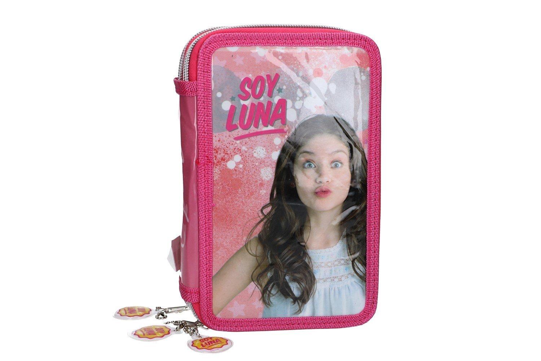 Soy Luna Estuche Lápiz caso de la escuela triple rosa 3 zip VZ584