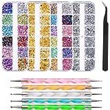 FOCCTS 4300Pezzi Kit di Strass Brillantini Per Nail Art con 6 Raccogli Le Pinzette Multicolore Borchie per Unghie Strass di C