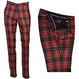 Mens Red Tartan Tweed Check Golf Sta Press Trousers Slim Fit 60s 70s Retro Mod Pants
