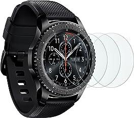 [3 Stück]OMOTON Panzerglas Schutzfolie für Samsung Gear S3 frontier und Gear S3 Classic und Samsung galaxy Watch 46mm, 9H Härte, Anti-Kratzen, Anti-Öl, Anti-Bläschen,lebenslange Garantie