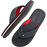 AX BOXING Mens Flip Flops Beach Gentleman Sven Sandals Slippers Leather Blue Red Soft Non-Slip Indoor Outdoor Size 7-11