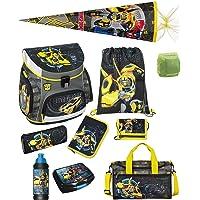 Familando Transformers Bumblebee Schulranzen-Set 10 TLG. mit Dose, Flasche, Sporttasche, große Schultüte 85cm und…