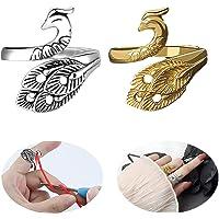 SSyang 2 Pièces Boucle De Tricot Réglable Boucle De Crochet De Tricot,Anneau De Paon Phoenix,Guide De Fil Porte-Doigt à…