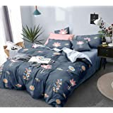 Fablicious Reversible AC Comforter Set King Size with Double Bed Sheet and 2 Pillow Covers 90 x 100 Inch Cotton