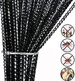 AIZESI Rideau Cuisine Rideau de Porte Exterieur,Voilages Rideau Fil Rideau Threadstore Rideaux Fenêtre Rideau 90x200cm (Noir)