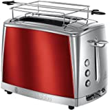 Russell Hobbs Grille-Pain, Toaster Luna, Technologie Cuisson Rapide, Contrôle Brunissage, Chauffe Viennoiserie Inclus - Rouge 23220-56