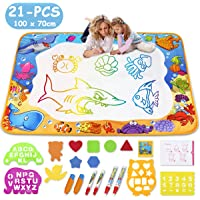Water Drawing Mat- Kids Aqua Water Doodle Mat Toy - Colorful Bring Magic Pens Educational Toys for Age 3 4 5 6 7 8 9 10 11 12 Year Old Age Girls Boys Gift