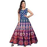 Radhika Emporium Cotton Jaipuri Print Long Anarkali Kurta Dress for Women (Multicolor, Free Size)