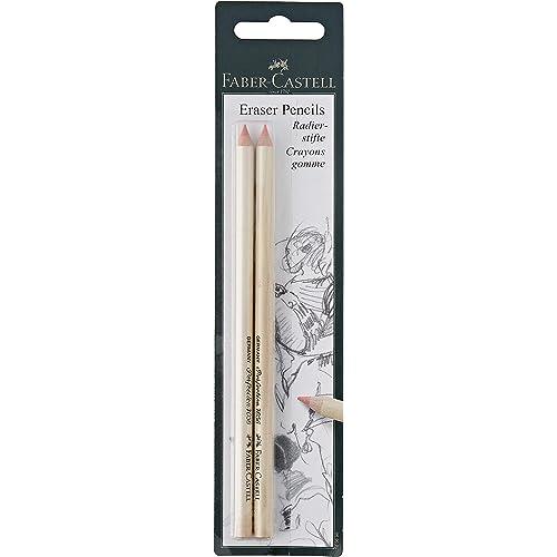 Faber-Castell - Confezione di 2 gomme a forma di matita, per cancellare con precisione