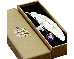 Toirxarn Segnalibro in piuma di metallo, con farfalla 3D e perle di vetro Ciondolo eterno fiore secco. Regalo per lettori, do