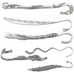 MagiDeal 6 assorted styles Antique Silver BookMark With Loop For Jewelry Making Craft