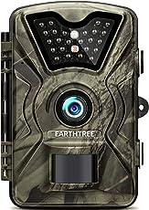 """EARTHTREE Wildkamera,12MP 1080P Full HD Jagdkamera Low Glow Infrarot 20m Nachtsicht Überwachungskamera 2.4"""" LCD IP66 Wasserdichte Nachtsichtkamera Wildkamera Fotofalle"""