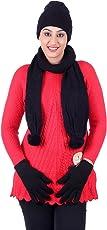 Gajraj Black Women's Beanie Woolen Cap, Muffler And Gloves Set (Ghfm15_Free Size)