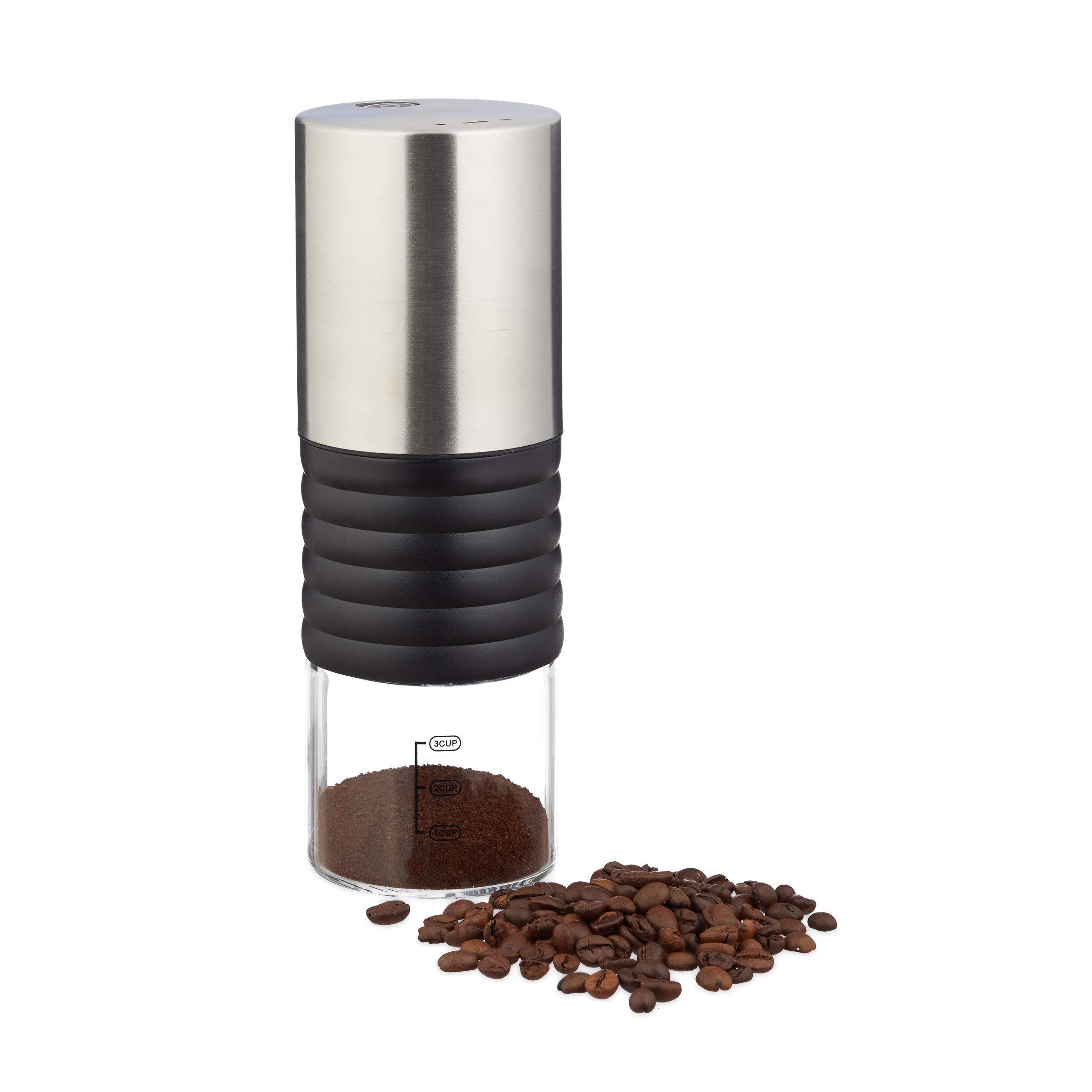 Relaxdays 10023301, Edelstahl, silber Elektrische Kaffeemühle, verstellbares Keramikmahlwerk, bis zu 3 Tassen, Espressomühle USB, Kunststoff