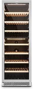 Klarstein Gran Reserva • cave à vin • Réfrigérateur à boissons • Réfrigérateur gastronomique • 2 zones • 379 litres • 166 bouteilles • 7 étagères • Section tactile • Éclairage DEL • Noir-argent