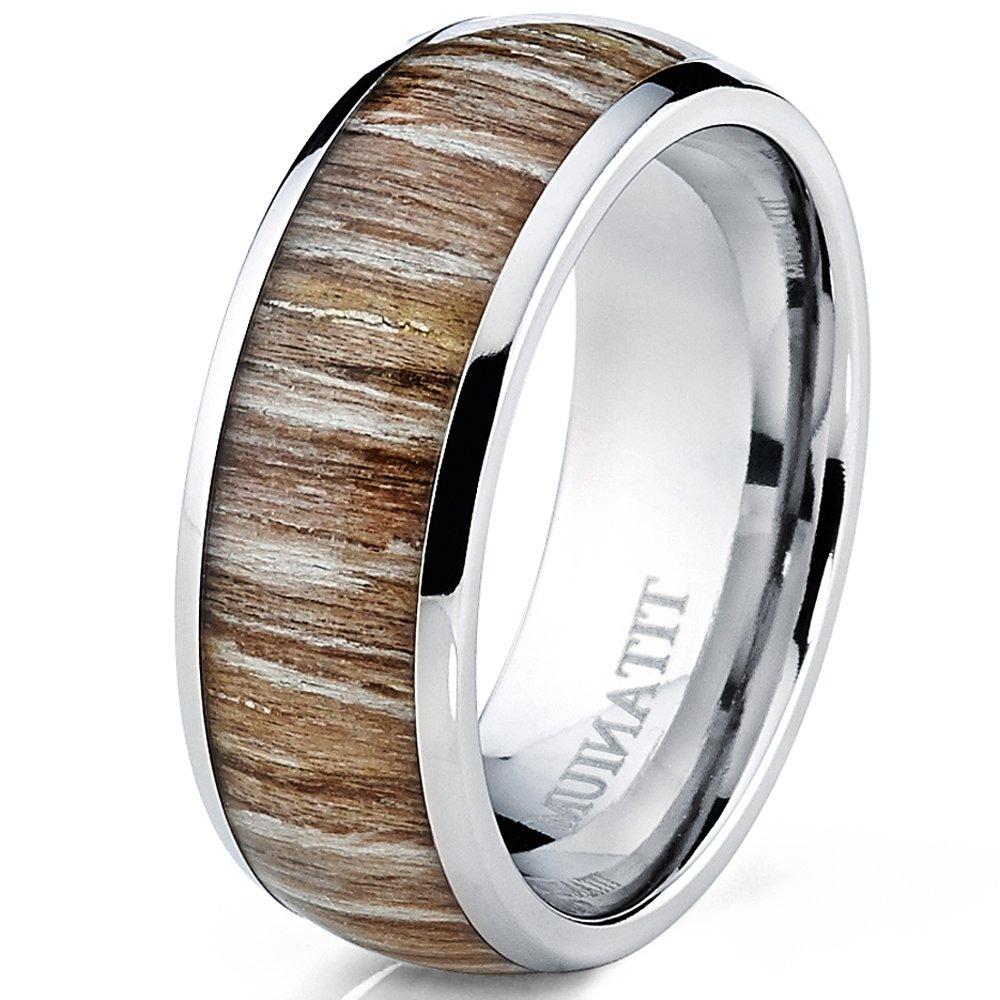 Bague De Mariage En Titane incrust/é Du Bois Veritable Alliance en Titane Avec du Bois 8mm Int/érieur Confort Ultimate Metals Co